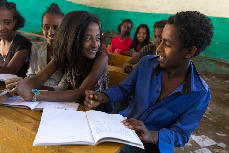 ethiopian boys and girls learning about menstruation together