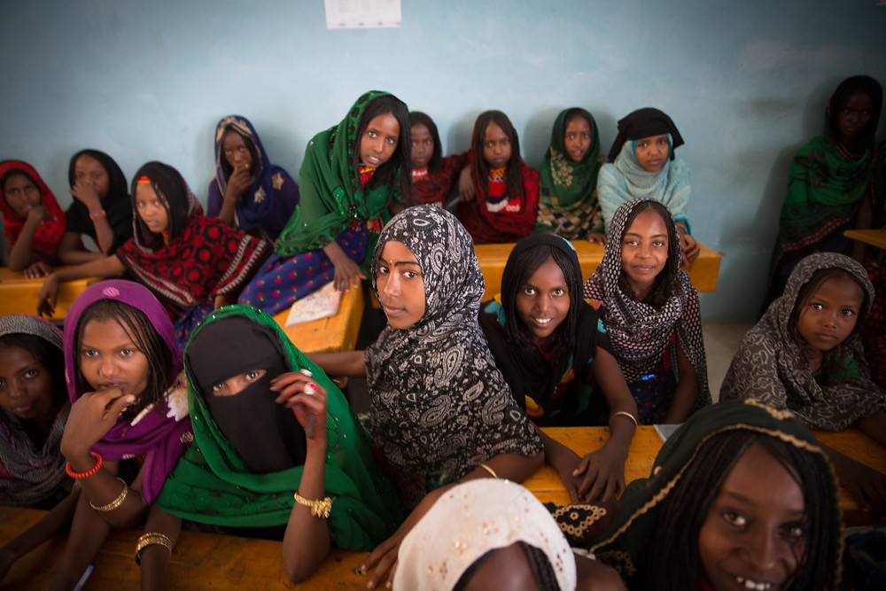 Ethiopian girls learning about menstruation from Dignity Period