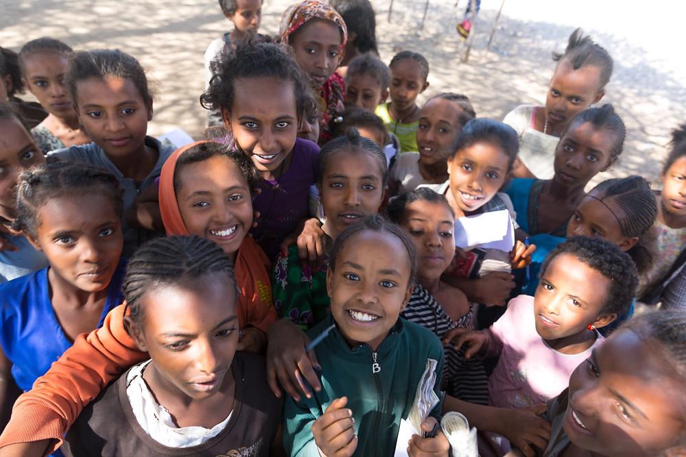 Ethiopian girls getting menstruation supplies