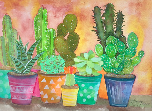 Colorful Cactus Pots (Watercolor)