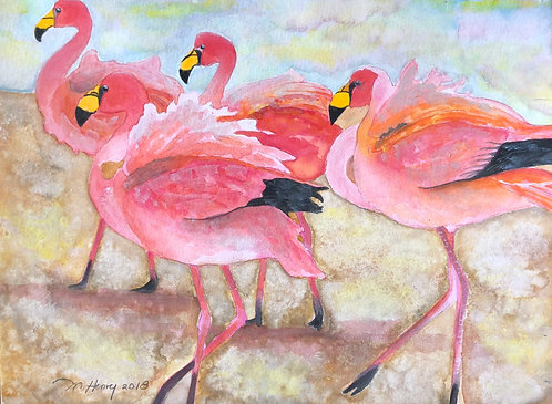 """A Flamboyance Of Flamingos"" An Original Watercolor"