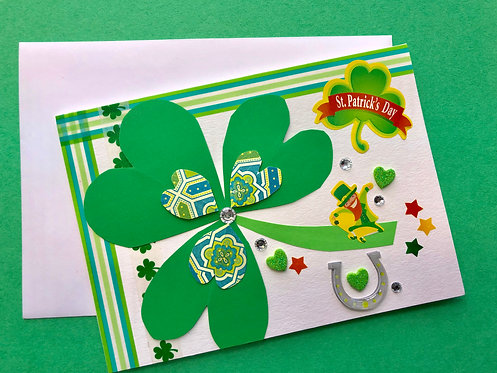 St. Patricks Day handmade card w/ envelope