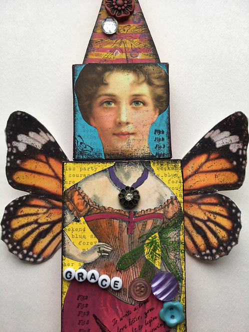 Grace, A mixed media collage doll