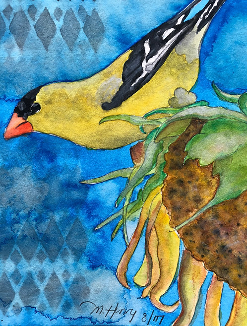 """Yellow Finch On Sunflower"" An Original Watercolor"