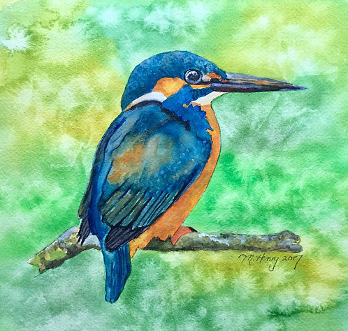 """Kingfisher"" An Original Watercolor"