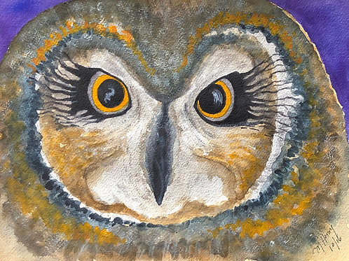"""Hooty The Owl' An Original Watercolor"