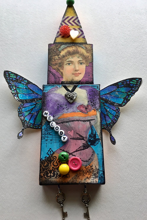 """Melody"" A Mixed Media Collage Doll"