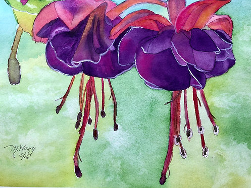 """Lovely Fuchsia"" A Watercolor Print"
