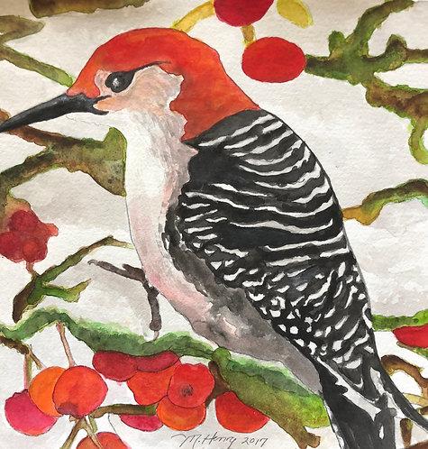 """Woodpecker In Winter"" An Original Watercolor"