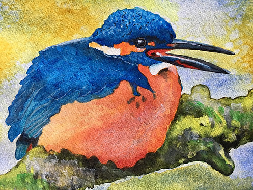 """Blue Kingfisher At Rest""  An Original Watercolor"