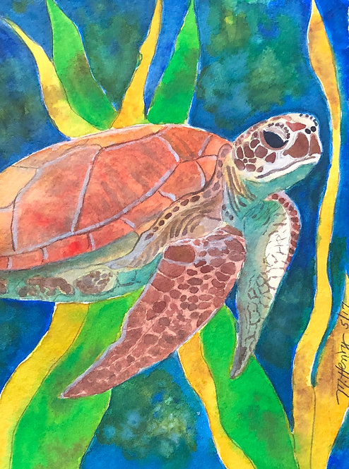 """""""Tommy The Sea Turtle"""" An Original Watercolor"""