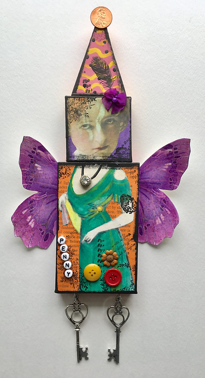 """Penny"" A Mixed Media Collage Doll"