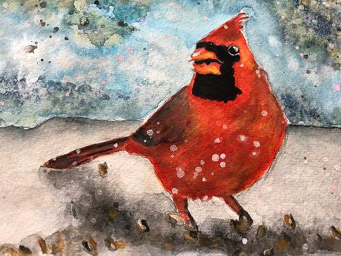"""Cardinal In Snow"" An Original Watercolor"