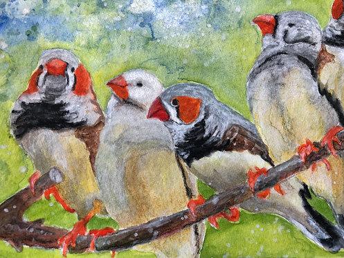 """Finch Family Love"" An Original Watercolor"