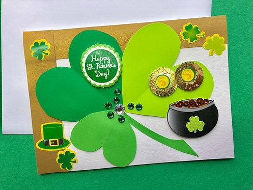 St. Patricks Day handmade card w/ envelope