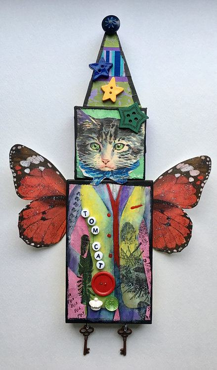 """Tom Cat"" A Mixed Media Collage Doll"
