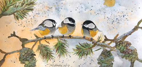 """Chickadee Coffee Clutch"" An Original Watercolor"