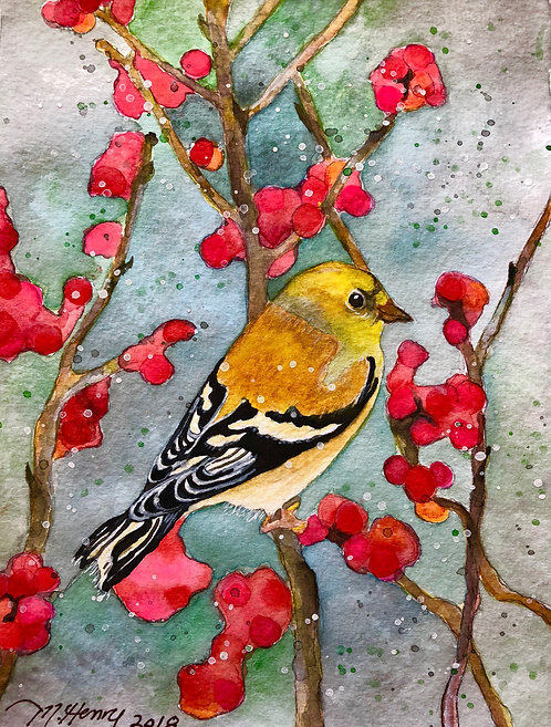 """Golden Finch In Winter Berries"" An original watercolor"