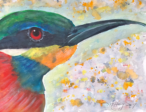 """Blue Breasted Bee Eater"" An Original Watercolor"