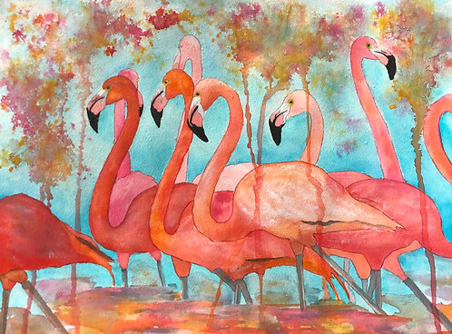 """""""Flamingo Rain"""" An Original Watercolor"""