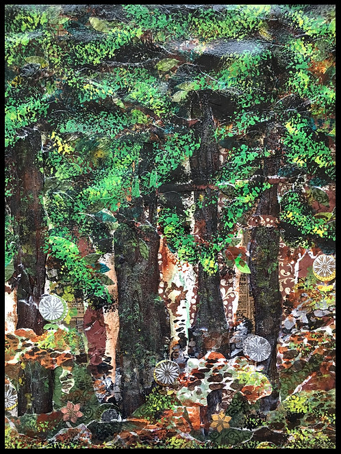 Mixed Media Collage - Enchanted Redwood Trees