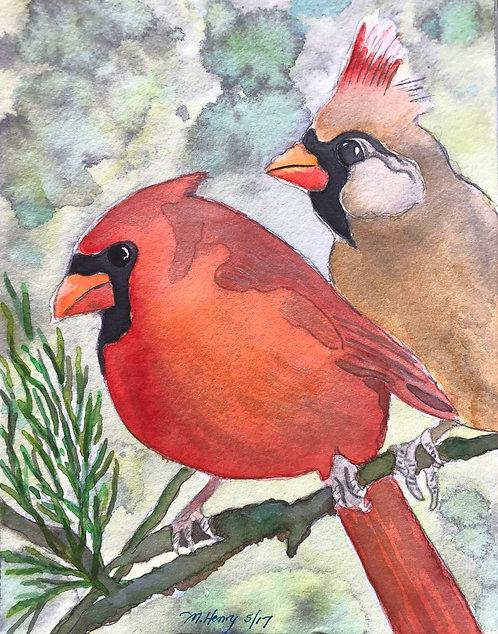 """""""Cardinal Love"""" An Original Watercolor"""