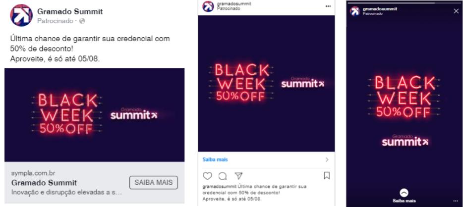 Print de anúncios em diferentes posicionamentos: feed do Facebook, feed do Instagram e Instagram Stories.