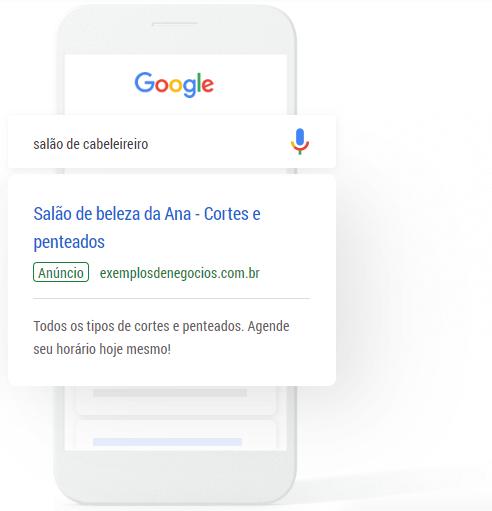 """Imagem mostra um exemplo de anúncio na rede de pesquisa do Google. O termo pesquisado é """"salão de cabeleireiro"""" e o anúncio exibido é o de um salão de beleza."""