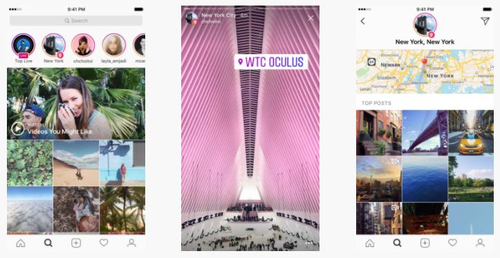 imagem com exemplos de posts com localização no Instagram