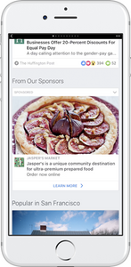 Imagem mostrando a aparência de um anúncio nos Instant Articles do Facebook.