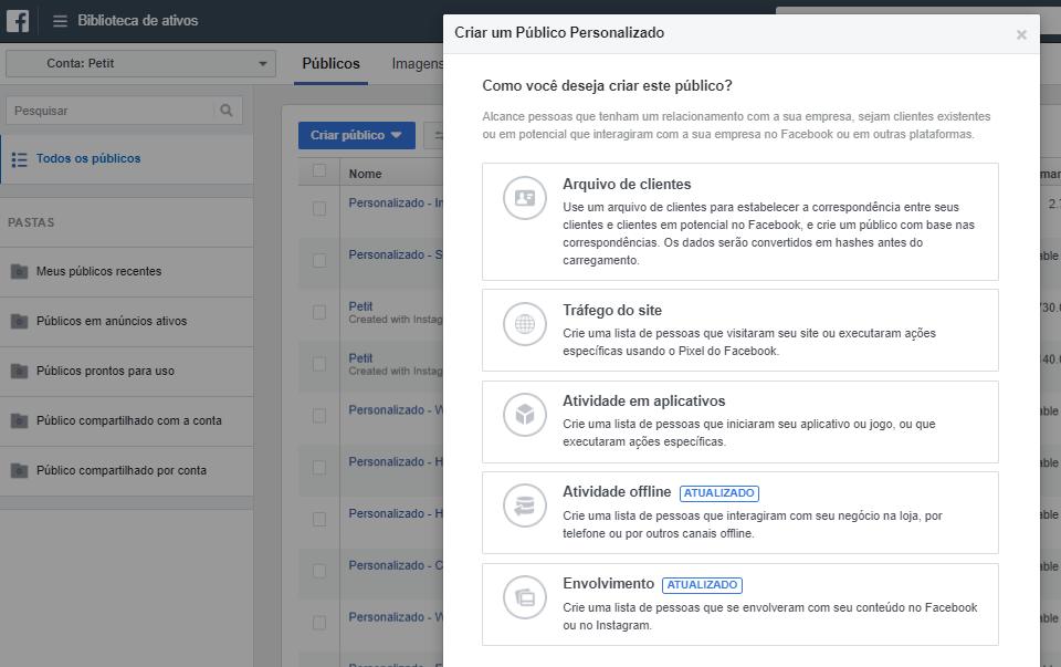 Print de tela exibindo a ferramenta de criação de públicos personalizados do Facebook.