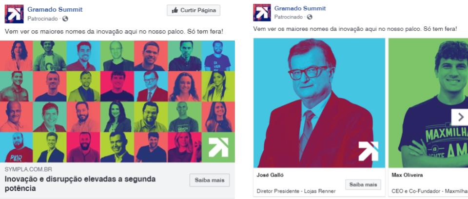 Print de anúncios de Facebook com as fotos dos palestrantes com filtro colorido.