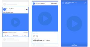 Imagem mostrando a aparência de um anúncio com vídeo único em Facebook, Instagram e Stories.