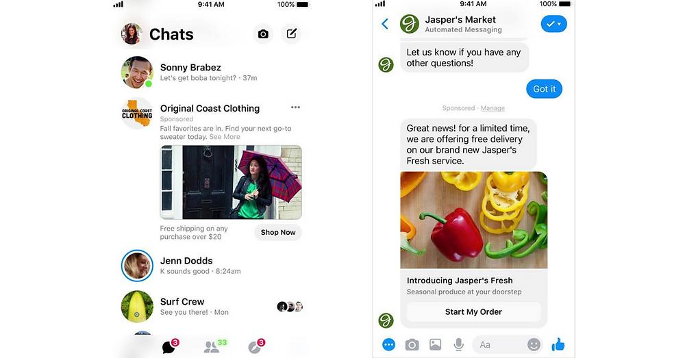 Imagem mostrando a aparência de um anúncio no Messenger do Facebook.