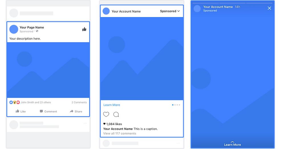 Imagem mostrando a aparência de um anúncio com imagem única em Facebook, Instagram e Stories.