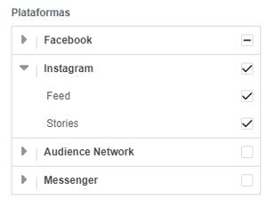 A imagem mostra um print do Gerenciador de Anúncios do Facebook, na área de seleção dos posicionamentos de anúncios.