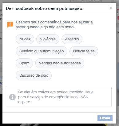 Tela apresentando o recurso de dar feedback à publicação no Facebook