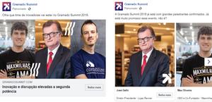 Print de anúncios com fotos odos palestrantes, sem filtro de cor.
