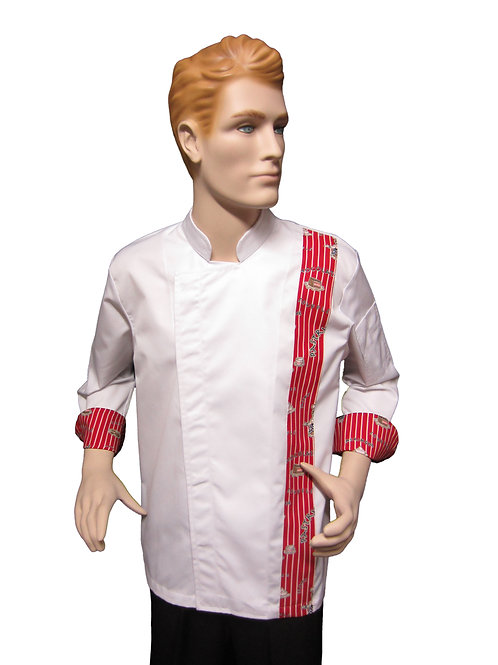 Chaqueta de Chef Modelo Broche con Detalles Pasteleria Rojo