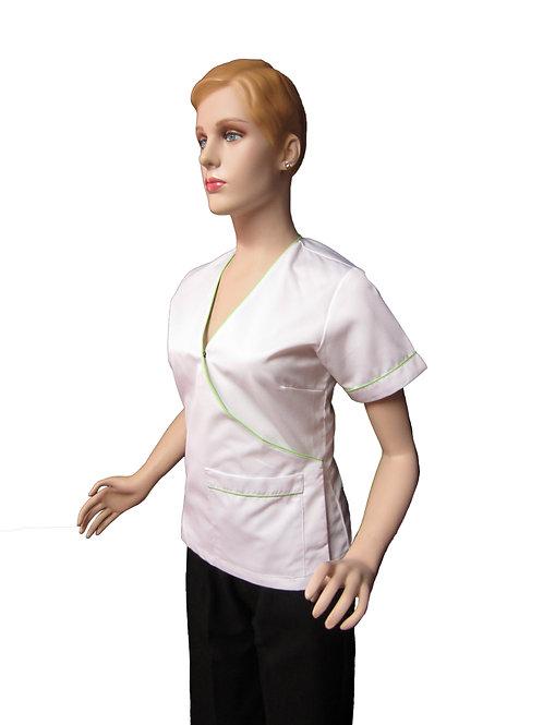 Conjunto: Chaqueta con Escote con Detalles y Pantalon Resorte, Color blanco