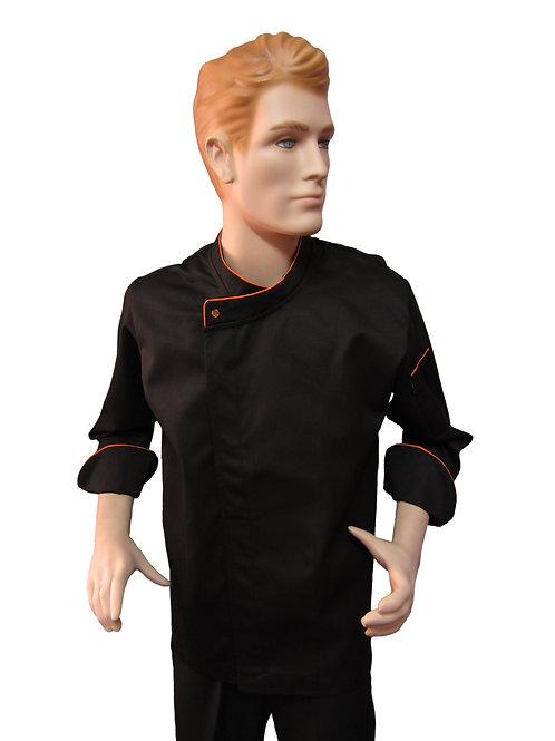 Chaqueta de Chef Modelo Broche Visto con Detalles Naranja