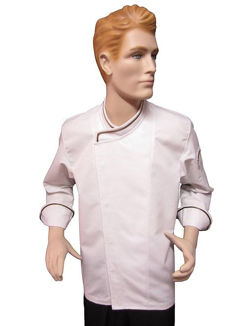 Chaqueta de Chef modelo Broche con Detalles Cafe