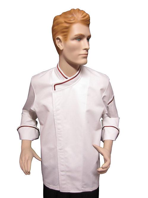 Chaqueta de Chef Modelo Broche con Detalles Terracota