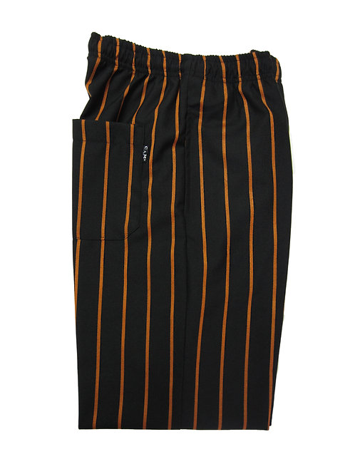 Pantalón modelo Resorte color Negro con rayas gruesas naranja EXCLUSIVO C & M UNIFORMS