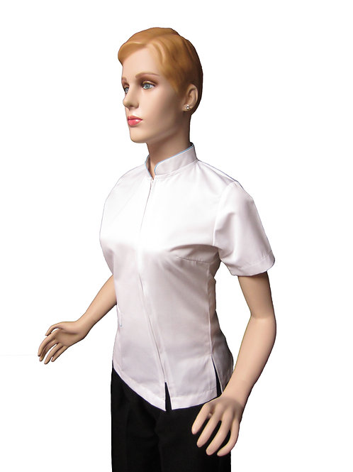 Conjunto: Chaqueta Cuello Neru con Detalles y Pantalon Resorte, Color blanco