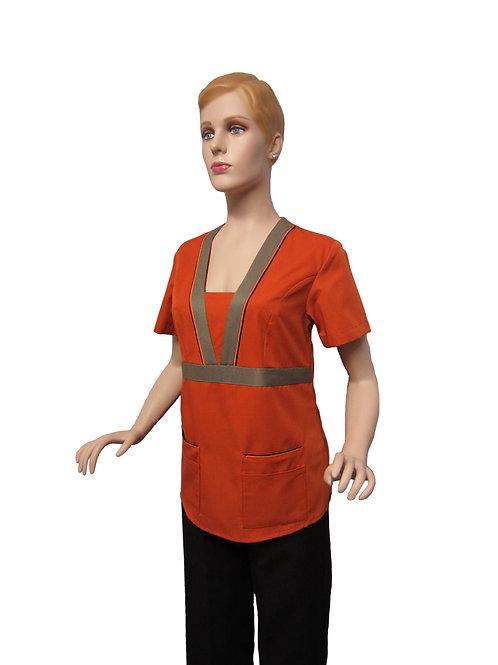Conjunto: Chaqueta cuello V con Detalles y Pantalon Resorte, Color Terracota