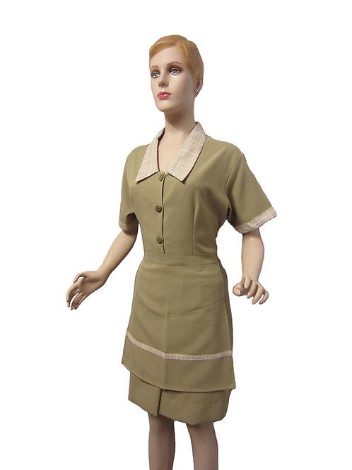 Conjunto Limpieza Vestido cafe con detalles cuadritos beige y delantal corto cafe