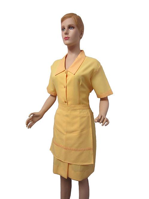 Conjunto Limpieza Vestido amarillo y delantal corto amarillo