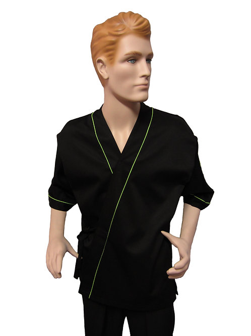 Chaqueta Kimono Negra con Detalles Verde