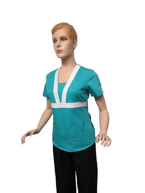 Conjunto: Chaqueta cuello V con Detalles y Pantalon Resorte, Color Turquesa